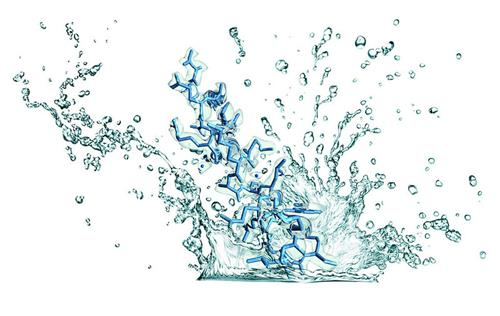 Water splash with molecular structure in the central third of the splash