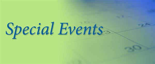 green to blue gradient background with calendar close up, the words Special Events across image