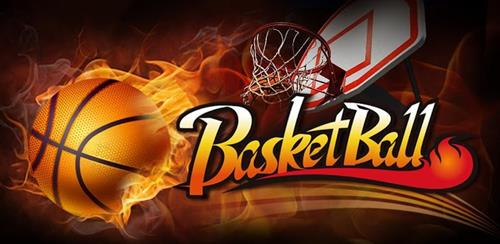 "Basketball surrounded by flames in air with a basketball hoop to the right and the word ""basketball"" underneath"