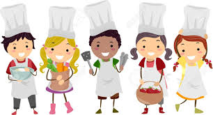 cartoon of kids ready to cook