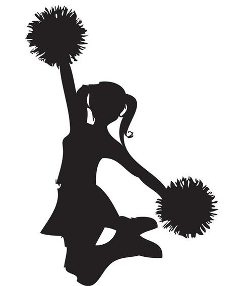 shadown image of female cheerleader jumping while holding one pom pom up and one down