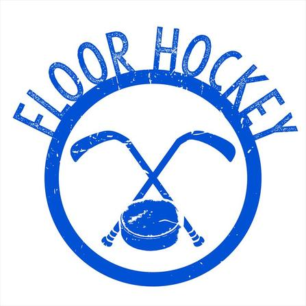 Blue floor hockey logo with sticks and puck