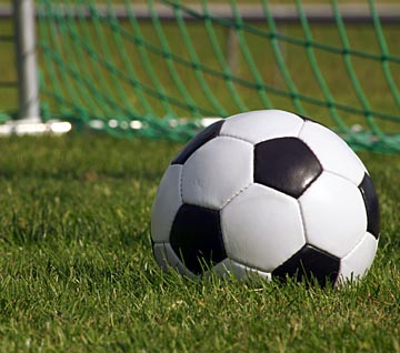 photo of a black and white soccer ball sitting in the grass by a soccer goal
